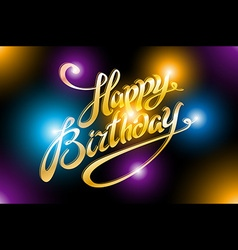 Light of happy birthday typography background vector