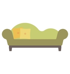 Green chaise lounge with pillows vector