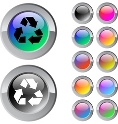 Recycling multicolor round button vector