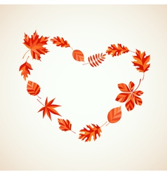 Autumn leaves heart vector