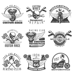 Motorcycle black emblem set vector