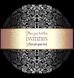 Baroque background with antique luxury silver vector