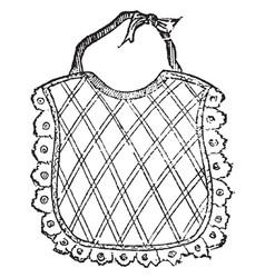 Bib is a small piece of cloth vintage engraving vector
