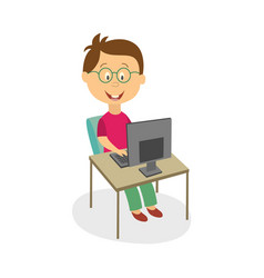 Boy in glasses studying playing on computer vector