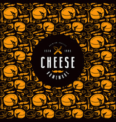 cheese label and frame with pattern vector image vector image