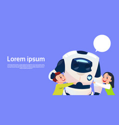 Children playing with modern robot futuristic vector
