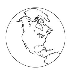 Earth icon in outline style isolated on white vector image vector image