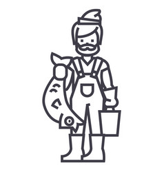 fisherman with fish line icon sign vector image vector image