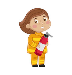 girl in firefighter uniform with fire extinguisher vector image vector image