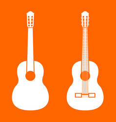 guitar white icon vector image vector image