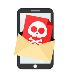 letter with a computer virus in smartphone vector image vector image
