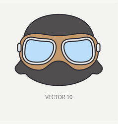 Line flat color motorcycle icon helmet vector