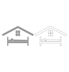 Man in bed hotel grey set icon vector