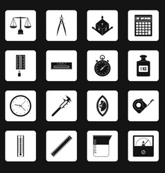 Measure precision icons set squares vector