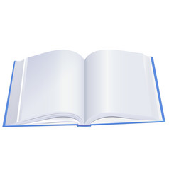 open hardcover book with blue cover vector image