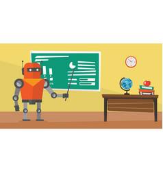 Robot teacher standing with pointer in classroom vector