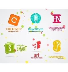 Set of abstract creative logo design Art vector image