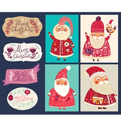 Set of funny santa clauses vector