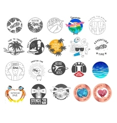 summer and tourism theme logos set vector image