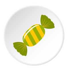 Sweet candy in green wrap icon circle vector