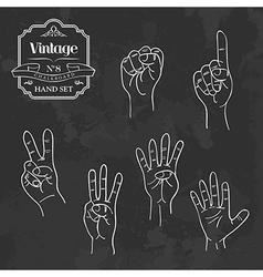 Vintage chalkboard numbers hand set vector