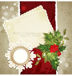 Vintage retro christmas background with sprig of e vector