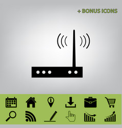 Wifi modem sign black icon at gray vector