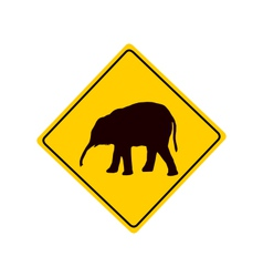Young elephant warning sign vector image