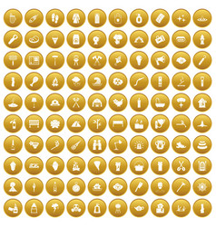 100 fire icons set gold vector