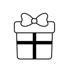 Gift box with ribbon outline vector