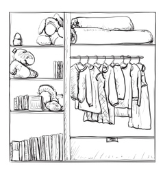 Hand drawn wardrobe sketch Clothes on the hanger vector image