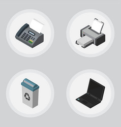 Isometric work set of office phone garbage vector