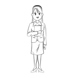 Cartoon character businesswoman standing with vector