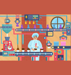 Cupcake sweets factory with confectioner vector