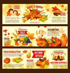 Autumn sale symbol set of thanksgiving day holiday vector