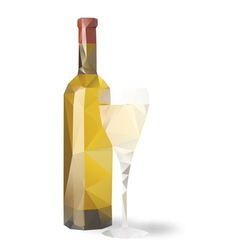 bottle wine glass vector image