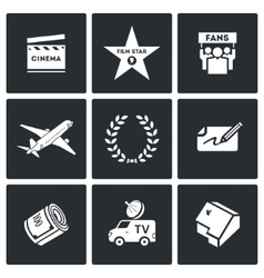 Cinema and glory icons vector