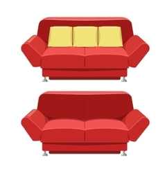 Red sofa couch design front view vector