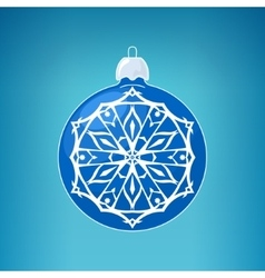 Blue ball with snowflake  merry christmas vector