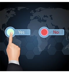 Hand choose yes or no on virtual screen vector