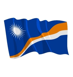 Political waving flag of marshall islands vector