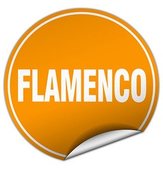 Flamenco round orange sticker isolated on white vector
