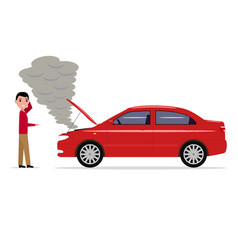 cartoon man standing with a broken car vector image