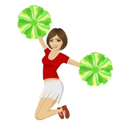 cheerleader girl jumping with pom poms vector image vector image