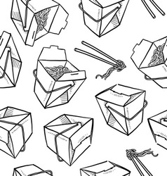 Chinese food boxes pattern vector