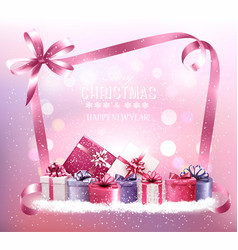 Christmas holiday background with gift boxes and vector