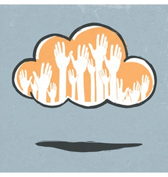 cloud hands vector image vector image