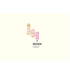 Contour logo of a pencil vector