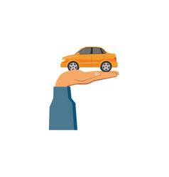 flat man hand holding sedan car vector image vector image