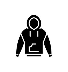 Hoodie icon black sign on vector